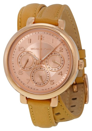 Michael Kors Michael Kors Rose Gold-Tone Dial Taupe Leather Wrap Bracelet Ladies Watch