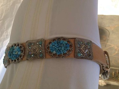 TURQUOISE, CRYSTAL AND SILVER TONE DETAIL
