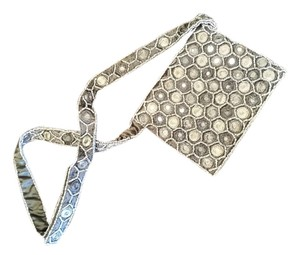 Moyna Silver Mirror Satin Beaded Shoulder Bag