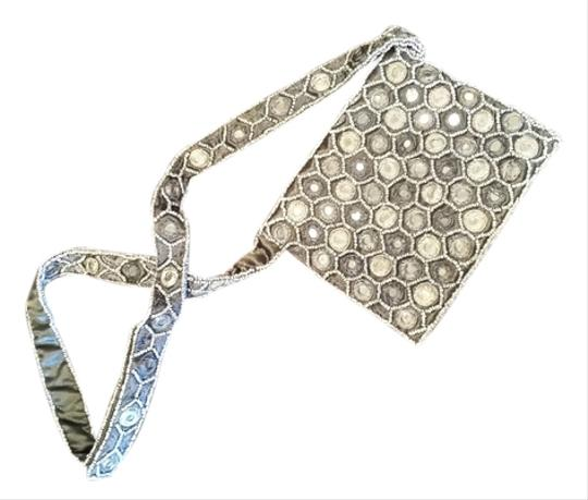 Moyna Grey Mirror Satin Beaded Shoulder Bag