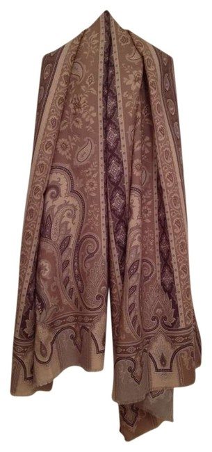 Item - Tan Taupe Grey Browns Tan/Ivory Bkgrnd Cashmere Paisley Oblong Scarf/Wrap