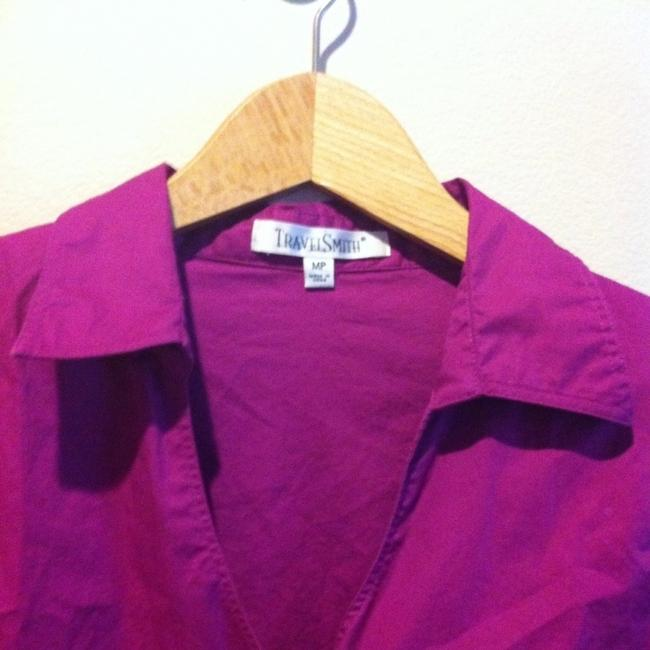 TravelSmith Easy Care Easy Wear No Wrinkle Petite 10 Medium 10 Medium Med Med M M Shirt Button Up Traveler Packable Vacation Top Radiant Orchid