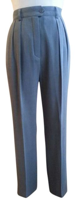 Escada Tailored Pleated Wool Business Attire Trouser Pants Grey