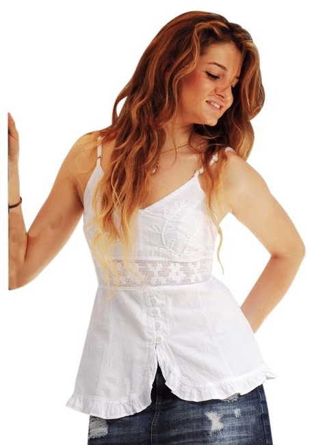 Lirome Lace Embroidery Cottage Chic Top White