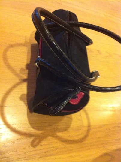 Liz Claiborne Purse Tote Purse Tote Suede Trim Trim Office Work Interview Classic Traditional Satchel in Black With Pink