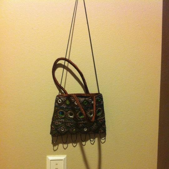 Other Boho Bohem Bohemian Earthy Earthy Edgy Beaded Mirrors Mirrored Satin Purse Zip Closer Zipper Swag Cross Purse Micro 9 Satchel in Brown Green Black White
