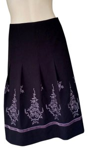 Ann Taylor Embroidered Skirt Black