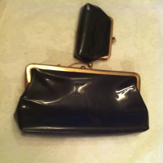 St. Thomas Vintage Vintage Formal Patent Faux Patent Attached Coin Purse Baby Coin Purse Two Set Set Lot Purse Clasp Prom Ball Black With Red Lining Clutch