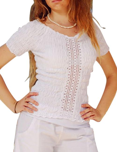 Lirome Cozy Summer Resort Lace Top White