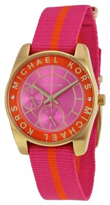 Michael Kors Michael Kors Multi-Function Pink Dial Pink and Orange Nylon Bracelet Ladies Watch