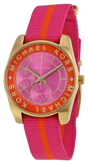 Preload https://item1.tradesy.com/images/michael-kors-michael-kors-multi-function-pink-dial-pink-and-orange-nylon-bracelet-ladies-watch-3849535-0-0.jpg?width=440&height=440