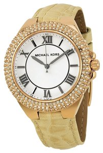 Michael Kors Michael Kors Rose Gold Tone Crystal Pave Bezel White Dial Beige Leather Strap Ladies Watch