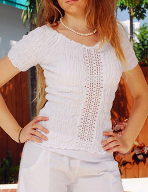Lirome Red Night Out Top White