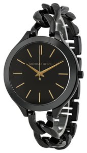 Michael Kors Michael Kors Black With Gold-Tone Stick Markers Twist Chain Bracelet Ladies Fashion Watch
