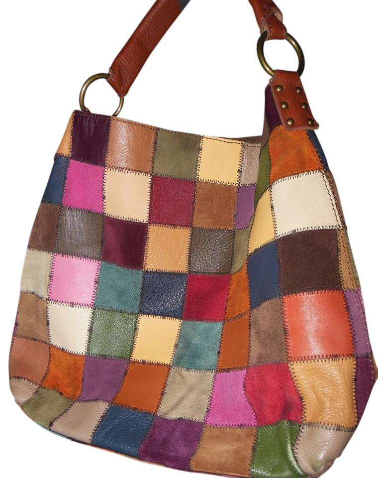Lucky Brand Patchwork Leather Large Hobo Bag