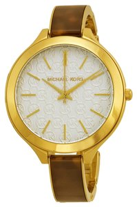 Michael Kors Michael Kors Slim White Dial Logo Gold Tone Tortoise Shell Bracelet Ladies Watch