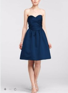 David's Bridal Marine Sweetheart Satin Ruched Dress With Full Skirt Dress