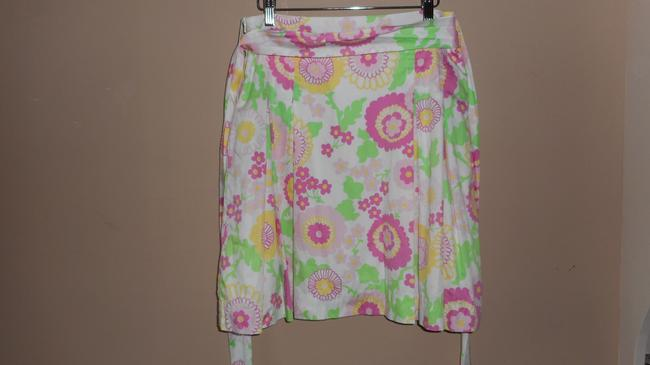 Lilly Pulitzer Pleated Floral Full Skirt Pink
