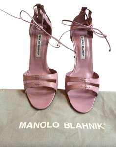 Manolo Blahnik Ankle Tie Heel Formal Lilac Sandals