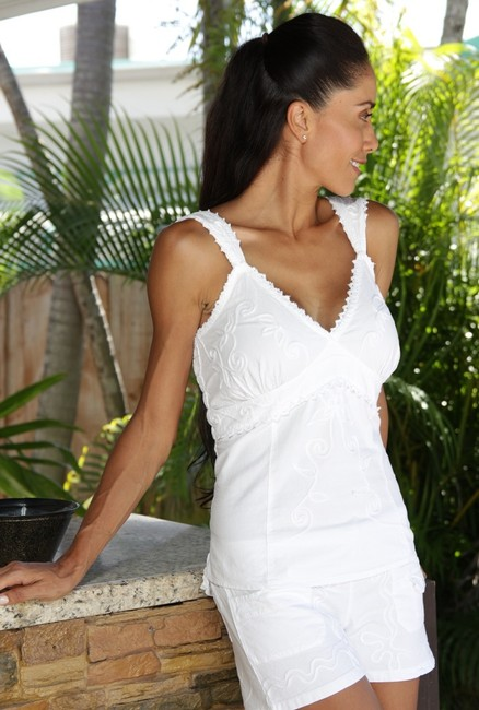 Lirome Embroidered Vacation Resort Summer Top White