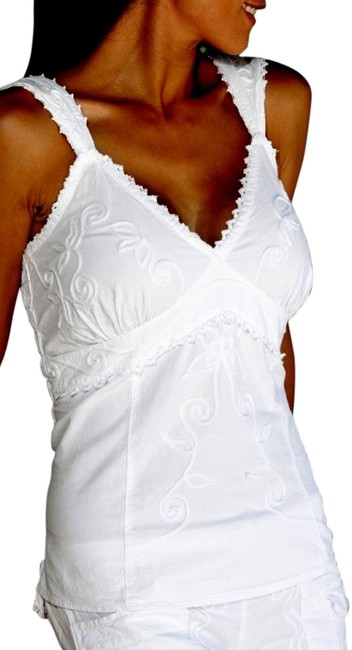 Lirome Denim Embroidered Top White