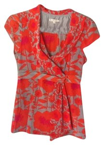 Nanette Lepore Top Grey with orange and fuchsia floral print
