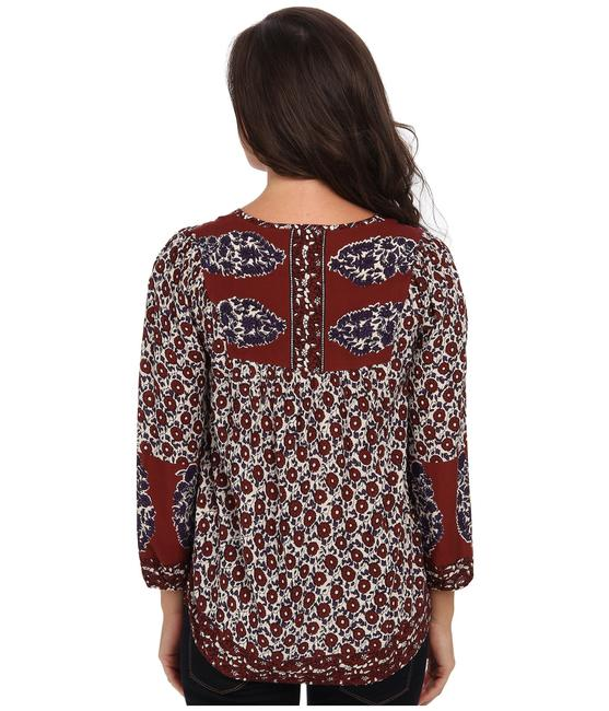 Lucky Brand Bohemian Peasant Tunic 7w41981 Floral 3/4 Sleeve Rayon Top Multi-Color