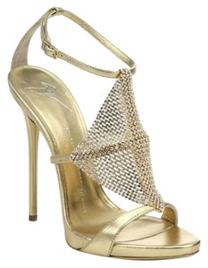 Giuseppe Zanotti Sparkle Heel Sandal Adjustable Strap Tie Ankle Gold Formal