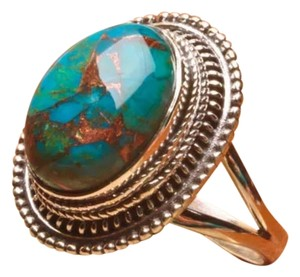 925 STERLING SILVER BLUE COPPER TURQUOISE GEMSTONE RING SZ 8.25