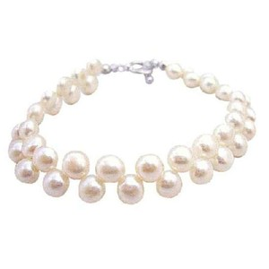 Off White Double Row Freshwater Pearls Potato Shaped Pearls Bracelet