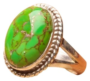 925 STERLING SILVER GREEN COPPER TURQUOISE GEMSTONE RING SIZE 7