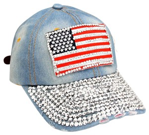 Other USA American Flag Bling Bling Crystal Distressed Blue Jeans Denim Baseball Cap