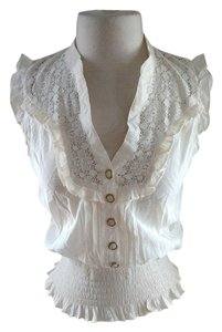 XOXO Sleeveless Buttondown Lace Top ivory