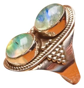 925 STERLING SILVER GREEN MOONSTONE GEMSTONE RING SIZE 7