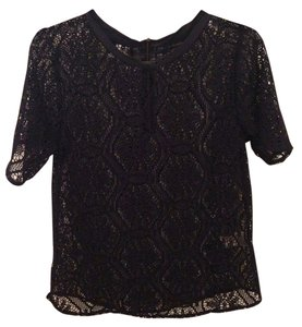 Banana Republic Sheer Lace Shortsleeved Top Navy Blue