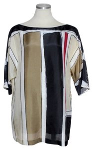 Theory 100% Silk Colorblock Top Black/Red/Beige