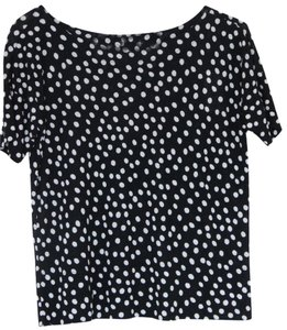 Ann Taylor LOFT Polka Dot Top Black/white