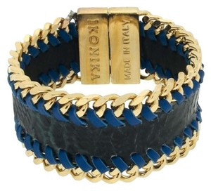 Ikonika Ikonika Leather and Snakeskin Bracelet