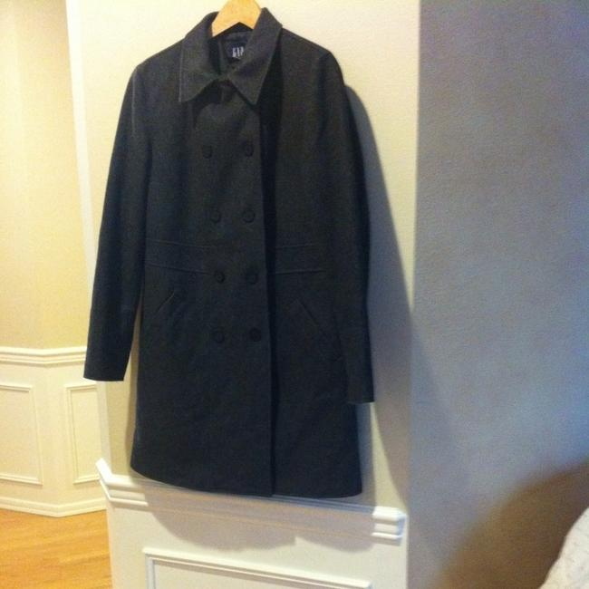 Gap Car Wool Wool Wool Blend Recycled Wool Trench Trench Long Mid Length Jacket Winter Professional Office Work Pea Coat