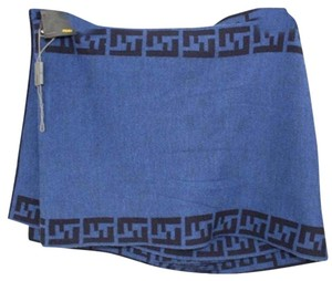 Fendi [ENTERPRISE] Blue Black Scarf Wrap Monogram FFTL06