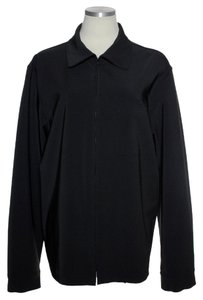Theory Woven Long Sleeve Zipper Front Black Jacket