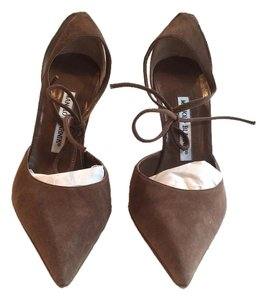 Manolo Blahnik Suede Leather Tie Ankle Brown Pumps
