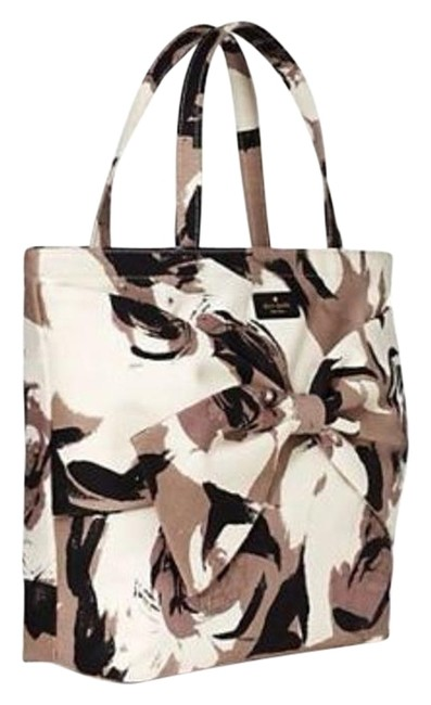 """Item - Buy Now Offers Accepted That Are Reasonable Retired """"On Purpose"""" Large Mushroom Floral Soon Black Taupe Ivory Cotton Tote"""
