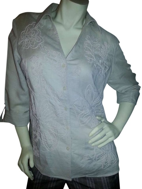 Harvé Benard Floral Linen/Cotton Cool Button Down Shirt light beige