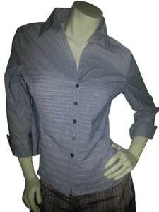 Tracy M Button Down Shirt blue pin stripe