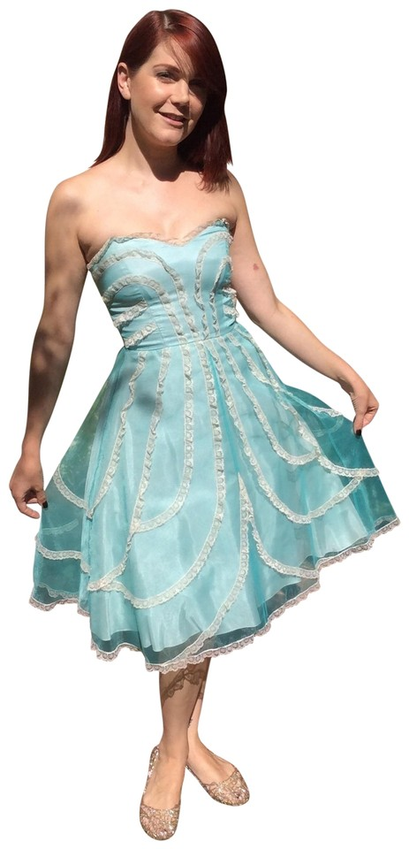 Betsey Johnson Turquoise Party Above Knee Formal Dress Size 2 Xs