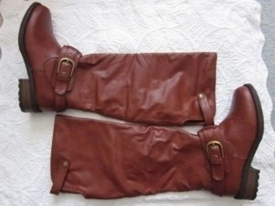 Qupid Motorcycle Lug Sole Cognac Boots