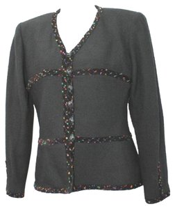 KELLY GRAHAM Neiman Marcus Tweed Wool Black Jacket Blazer
