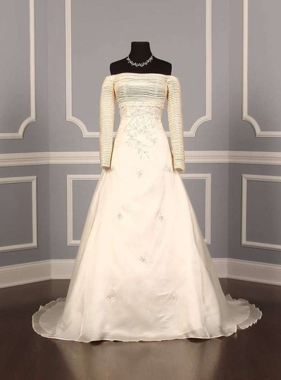 St. Pucchi Natural (Very Light Ivory) Silk Organza 9214 Formal Dress Size 4 (S)