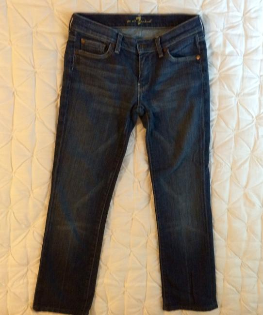 7 For All Mankind Denim Petite Tailored Straight Leg Jeans-Medium Wash